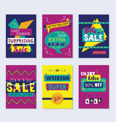 purple navy blue and yellow funky sale cards set vector image vector image