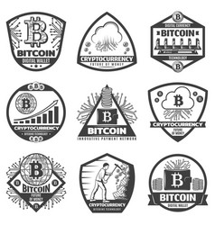 vintage monochrome crypto currency labels set vector image
