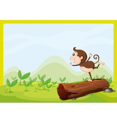 A monkey dancing on wood vector image