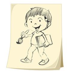 Boy artist Sketch vector image vector image