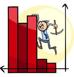 businessman on chart cartoon vector image vector image