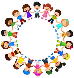 Circle of happy children different races vector image