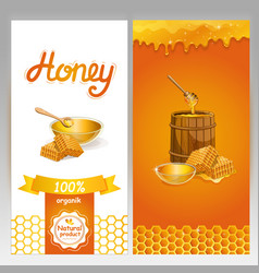 organic honey advertising for vegan shop vector image vector image