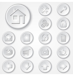 abstract white round paper icon set vector image