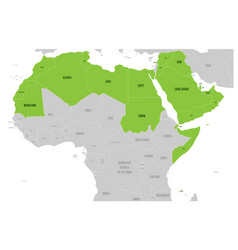 arab world states political map with higlighted 22 vector image
