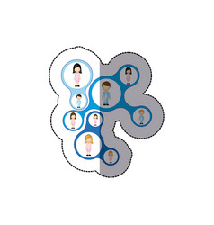 Color teamwork people icon vector