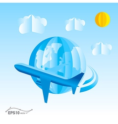 plane globe origami 3d paper vector image vector image