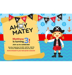 Ahoy Matey Pirate Girl Birthday Invitation Card vector image vector image