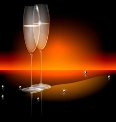 champagne glasses vector image vector image