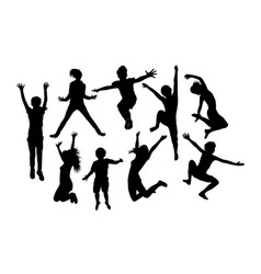 happy jumping child silhouettes vector image vector image