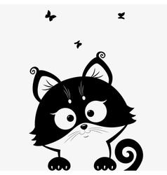 kitten black vector image