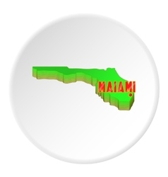 Map of Florida with Miami icon cartoon style vector image vector image