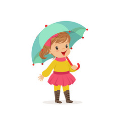 sweet little girl in warm clothing walking with vector image