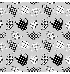 Teapots black and white patchwork seamless pattern vector image vector image