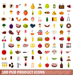100 pub product icons set flat style vector
