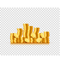 A lot of coins on a transparent background vector