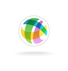 Abstract colorful round sphere logo template vector