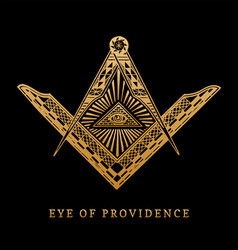 All-seeing eye of providence masonic square vector