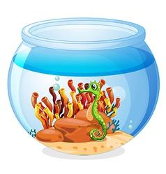 An aquarium with a seahorse vector