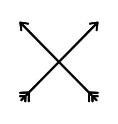 Arrow cross feather vintage icon vector