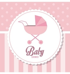 Baby Shower design stroller icon pink vector image