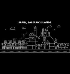 Balearic islands silhouette skyline spain vector
