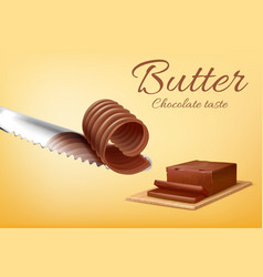 banner with stick of chocolate butter vector image