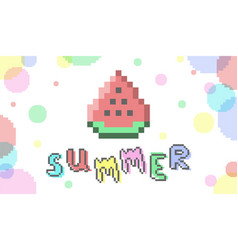 bit pixelart summer banner with watermelon vector image