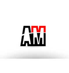 black white alphabet letter am a m logo icon vector image