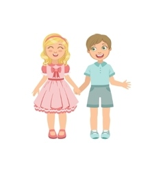 Boy And Girl In Love Holding Hands vector