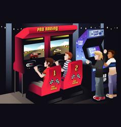 Boys playing car racing in an arcade vector