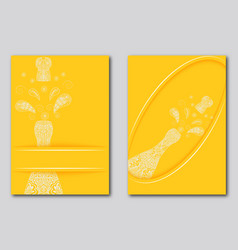 Bright yellow backgrounds with patterned bottle vector