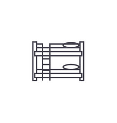Bunk bed line icon sign on vector