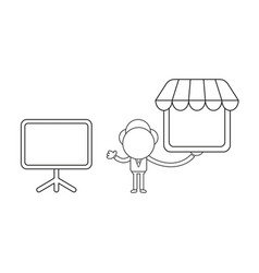 Businessman character with blank presentation vector