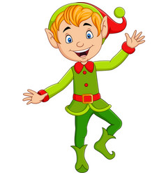 cartoon cute christmas elf presenting vector image
