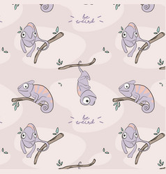 cartoon hand-drawn iguana pattern cute nursery vector image