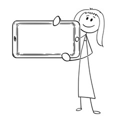 Cartoon of woman or businesswoman holding large vector