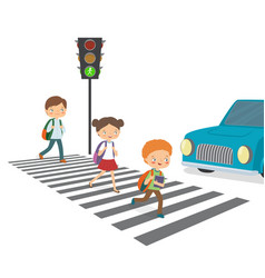 Children cross the road to a green traffic light vector