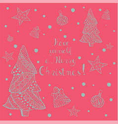 christmas greeting card with hand drawn elelments vector image