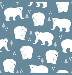 christmas seamless pattern with polar bear vector image