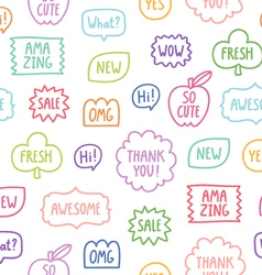 Colorful outline phrases seamless pattern on white vector