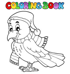Coloring book cartoon raven vector