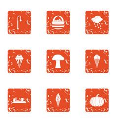 Community garden icons set grunge style vector