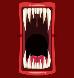Creepy scary monster character teeth jaw and vector