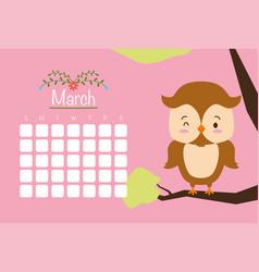 cute animals calendar vector image