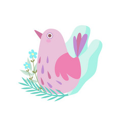 cute little pink bird symbol of spring vector image