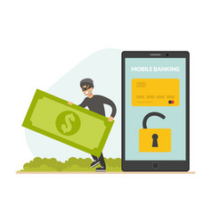 cyber theft hacking smartphone and stealing money vector image