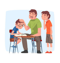Dad teaching his sons parent helping children vector