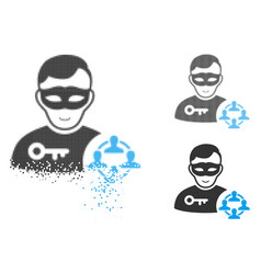 Damaged dotted halftone social hacker icon with vector