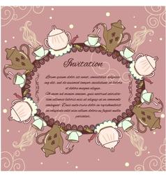 Decorative card with vintage tea or coffee service vector